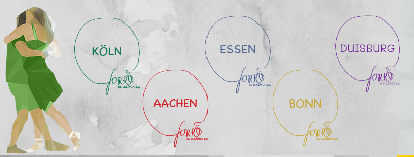 Club city logos of Cologne, Aachen, Bonn, Essen, and Duisburg